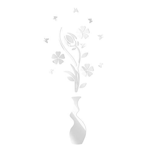 Vosarea Adesivo murale acrilico 3D adesivo specchio fiore e vaso adesivi murali ecologici per decorazione bagno camera da letto soggiorno (argento)