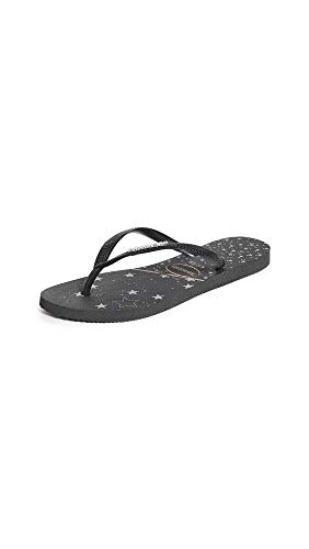 Havaianas Women's Slim Logo Metallic Flip Flop Sandal, Black/Silver, 5/6 M US