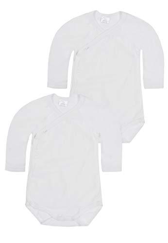 Kanz Unisex Baby 2er Pack Wickelbody 1/1 Arm Bekleidungsset, Weiß (Bright White White 1000), (Herstellergröße: 74)