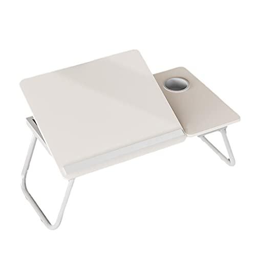 ZZL Tabla Portátil Portátil Bandeja Plegable De La Cama De La Cama Ajustable con El Soporte De La Taza para La Tableta De La Regla De La Bandeja De La Cama del Cuaderno (Color : White)