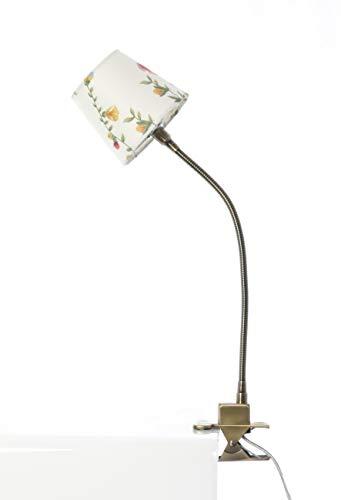 12V Halogen Klemmleuchte Klee messing mit bedrucktem Schirm Blumenmuster