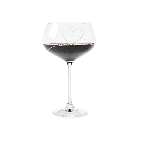 Riviera Maison - Copa de vino tinto, copa de vino - Con amor - Cristal - Corazón - Altura 20,6 cm - Volumen: 650 ml.