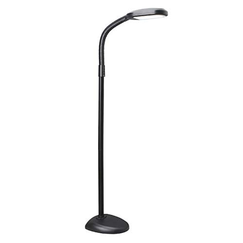 Verilux SmartLight Full Spectrum LED Modern Floor Lamp with Adjustable Brightness, Flexible Gooseneck and Easy Controls - Reduces Eye Strain and Fatigue - Ideal for Reading, Artists, Craft (Black)