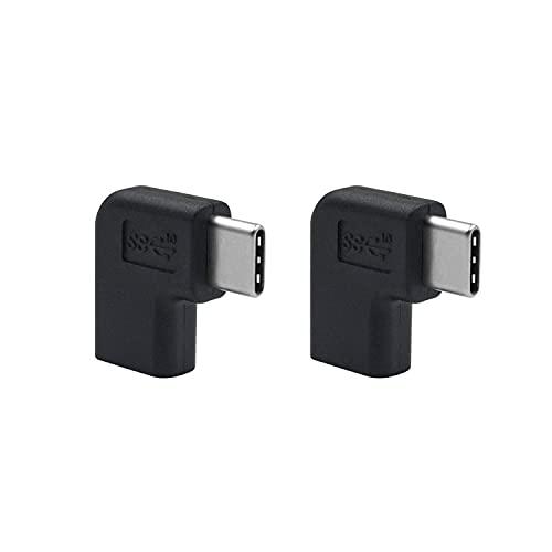 Duttek USB C Verlängerung Adapter (2er Pack) , USB C winkel gewinkelt 90 Grad USB C USB 3.1 der USB Stecker auf Buchse Verlängerung Adapter für Laptop&MacBook Tablet, Handy ,Surface Pro
