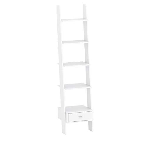 Estantería para libros, estantería de pie con cajón y escalera, 5 niveles, multifuncional, para salón (45 x 188 x 37,5 cm), color blanco