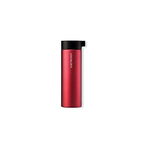 LOCK & LOCK Edelstahl Trinkflasche - KNOB VACUUM BOTTLE - Thermobecher to go auslaufsicher - Vakuum Isolierflasche für Kaffee, Tee & Kaltes, 400ml Rot