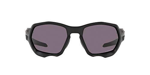 Oakley Men's OO9019A Plazma Asian Fit Rectangular Sunglasses, Matte Black/Prizm Grey, 59mm