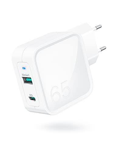 Caricatore USB C, Caricabatterie PD da 65 W con Tech GaN Quick Charge Caricabatterie a Doppia Porta con Spina per MacBook Pro/iPad Pro/Nintendo Switch/iPhone 13/12/13 Pro / 13 Pro Max e altro