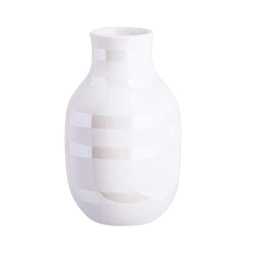 Hak Kähler Omaggio Vase aus Porzellan mit Streifen, Moderne Vase, rund, bauchige, skandinavisches Design Vase für Blumen, Perlmutt, 12.5cm
