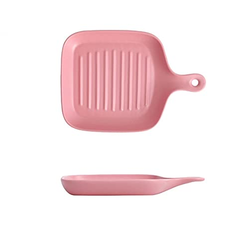 Cutlery Plate Plate Dish Plate Household Single Handle Baking Pan Ceramic Oven Plate Pink Single Handle Square