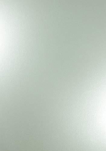 10 x Perlmutt-Echt-Silber 120g Papier DIN A4 210x297mm Majestic Real Silver doppelseitig schimmernd Pearl-Karton Perl-Glanz Perlmutt-Papier Bastel-Karton metallic glänzend für Inkjet und Laser Drucker