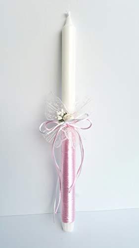 Vela bautizo niña de cera blanca, vela primera comunion,decorada con lazo color rosa y flor .medida altura 25 cm.