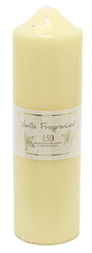 Carousel Home and Gifts 24 x 7cm 150 Hour Overdipped Vanilla Scented Pillar Votive Wax Candle Cream