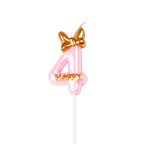 YUMEI Birthday Candles, Cake Decoration Candles with Butterfly and Hat Numbers, Girl Boy Birthday Cake Decoration Pull Sponsor Gold (Pink, Number 4)
