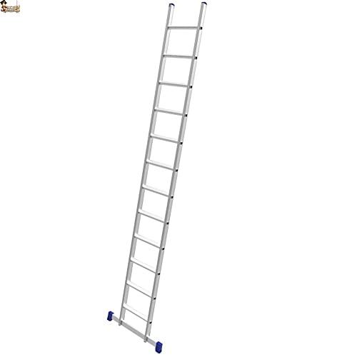 BricoLoco Escalera aluminio 1 tramo industrial. Profesional. De apoyo simple. 14 Peldaños. Altura total 4,10 metros. Perfil ancho de gran sección y barra estabilizadora.