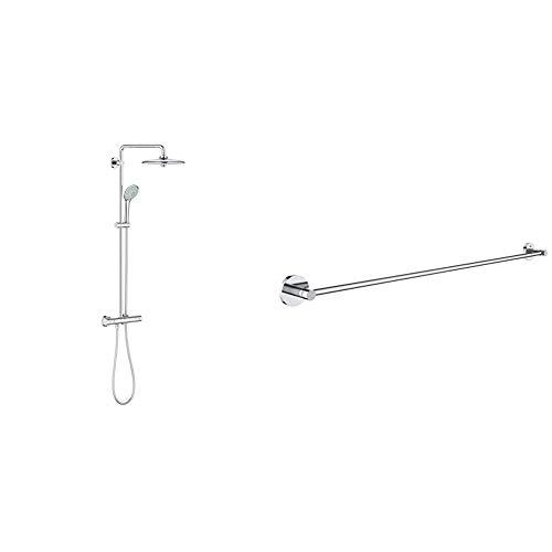 Grohe 27296002 Euphoria 260 - Sistema de ducha con termostato, alcachofa de 260mm con treschorros y teleducha de 110mm con treschorros + Grohe Essentials - Toallero, color cromo (Ref.40386001)