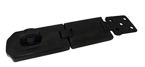 Mordallón de seguridad oculto muy resistente, eslabón flexible, con grapa endurecida, 6-1/4 pulgadas simple flexible, revestimiento negro, 1 paquete