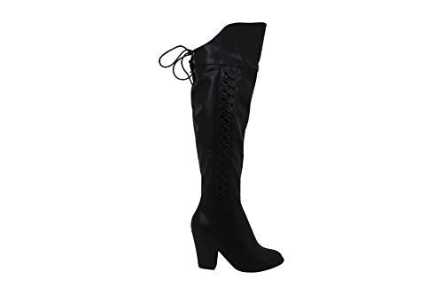 Brinley Co. Regular and Wide Calf Faux Leather Faux Lace-up Over-The-Knee Boots Black, 5.5