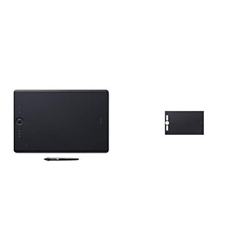 Wacom Intuos Pro Large Grafik-Tablett mit Bluetooth-Funktion – Großflächiges Format für digitales Zeichnen & Texture Sheet (Größe: L) Smooth Schwarz