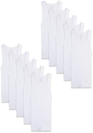 Fruit of the Loom Boys Cotton Tank Top Undershirt Multipack Toddler 10 Pack White 4T 5T product image