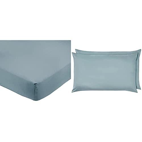 Amazon Basics FTD, Sábanas Ajustables, 180X200X30Cm, Azul + Pillowcase, Azul Claro, 50 X 80 Cm