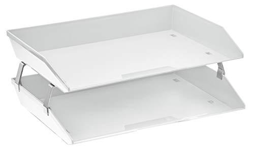 Acrimet Facility 2 Tier Letter Tray Side Load Plastic Desktop File Organizer (White Color)