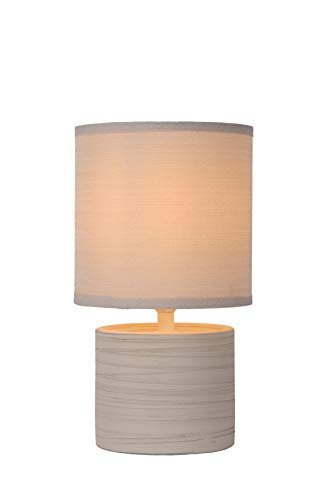 Lucide greasby–Lámpara de mesa–Diámetro 14cm–gris, cerámica, crema, E14 40 wattsW 230 voltsV