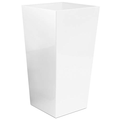 myBoxshop Macetero cuadrado de 15 litros, maceta para la entrada de la casa, para el suelo, para el jardín, color blanco