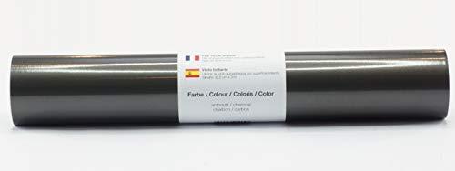 Selbstklebende Plotterfolie Vinylfolie 30,5 cm x 3 m glänzend 39 Farben zur Auswahl, Farbe:Anthrazit