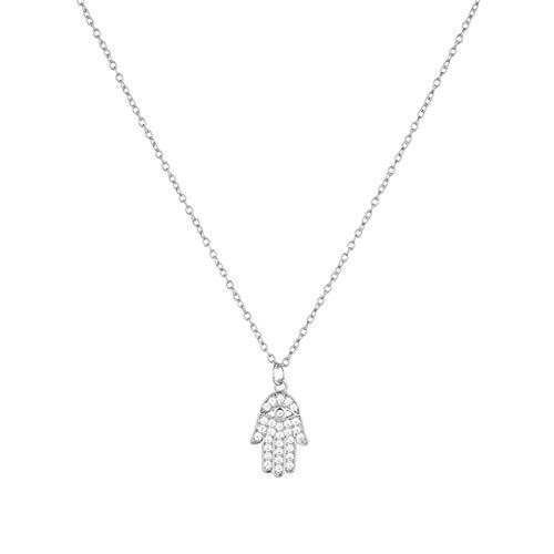 Señoras Collar de mano de plata de ley 925 para hombres y mujeres, regalo, collar con colgantes de palma de circón de Fátima, joyería/null,en/