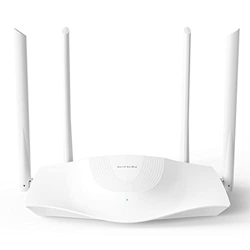 Tenda RX3 Router Wi-Fi AX1800 Mbps Dual Band, Quad-core Wifi 6, Velocità WiFi Fino a 1201 Mbps/5GHz+574 Mbps/2.4GHz, 1 Porta Gigabit WAN, 3 Porte Gigabit LAN, Rete Wi-Fi con IPV6, Esclusiva Amazon