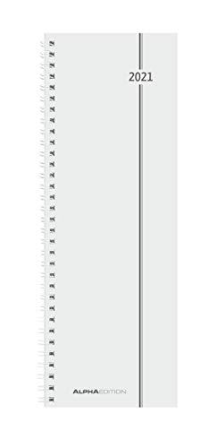 Pultkalender 2021 - Büro-Planer 10x28,5 cm - Tisch-Kalender - Hochformat - 1 Woche 1 Seite - Ringbindung - Alpha Edition