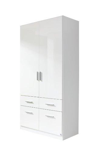 Rauch Möbel Celle Schrank Drehtürenschrank in Weiß / Hochglanz Weiß, 2-türig mit 4 Schubladen, inkl. Zubehörpaket Basic 1 Kleiderstange 2 Einlegeböden, BxHxT 91x197x54 cm