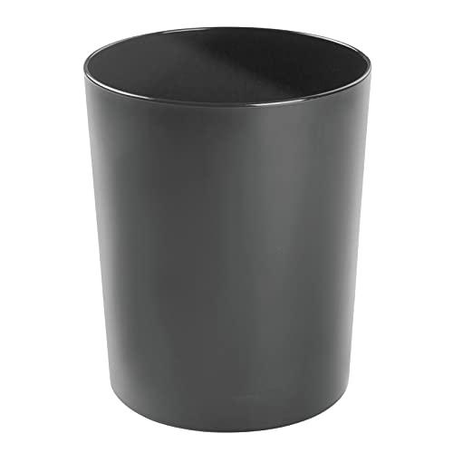 mDesign poubelle en métal – poubelle de cuisine, de salle de bain de bureau – suffisamment de place pour servir de corbeille à papier – noir