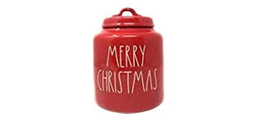 Rae Dunn By Magenta MERRY CHRISTMAS Red Ceramic LL Canister With White Letters