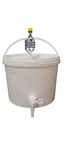 sil2018 Kompletter Gärbehälter 10L - Set: Gäreimer mit Gärröhrchen und Dichtgummi und Ablaufhahn aus Kunstoff, Eimer für Bier oder Wein mit Griff, weiß
