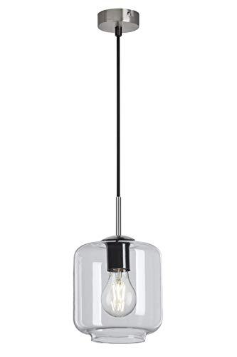 Briloner Leuchten - Pendelleuchte, Pendellampe mit klarem Zylinderglas Metall, 40 Watt, Matt-Nickel