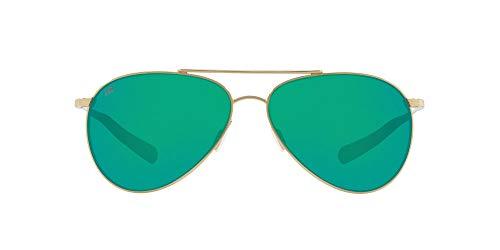 Costa Del Mar Men s Piper Polarized Aviator Sunglasses, Shiny Gold Copper Green Mirrored Polarized-580G, 58 mm
