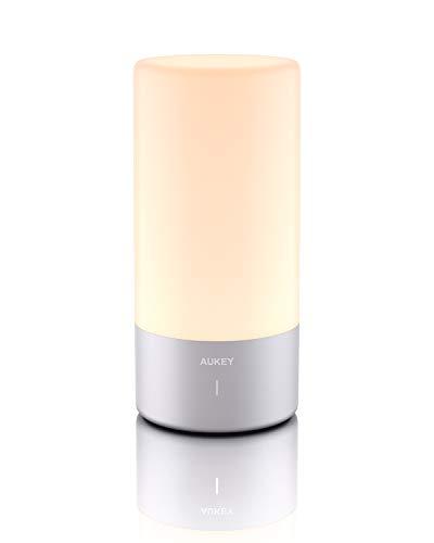 AUKEY Tischlampe, 360° Berührungssensor Nachttischlampe mit RGB Farbwechsel Tischleuchte Warmweißes Licht in 3 Helligkeitsstufen für Schlafzimmer und Büro 【2021 aktualisierte Version】