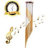 Campanas Esculturas de viento - Campanilla de Viento para Exteriores diseño de Madera y 18 Tubos, Precioso Sonido para jardín Porche Patio Decoración de Fiesta (Dorado)
