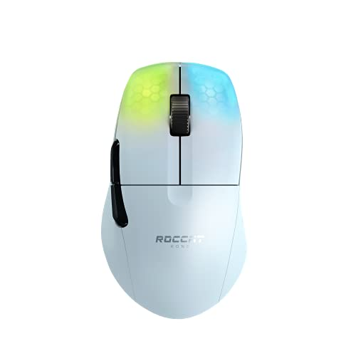 ROCCAT KONE Pro Air ゲーミングマウス (ワイヤレス, エルゴノミック, 軽量75g, Titanスイッチオプティカル, 光学式Owl-Eye 19K dpi, 熱処理PTFE, 半透明, RGB, サイドボタン) ホワイト ドイツデザイン 国内正規品 ROC-11-415-02