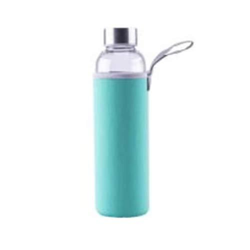 axentia Unisex – Erwachsene Wasserflasche Trinkflasche aus Glas, türkis, 1 l