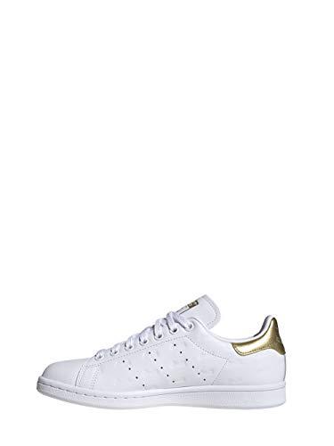 adidas Stan Smith W, Scarpe da Ginnastica Donna, Ftwr White/Ftwr White/Gold Met, 41 1/3 EU