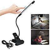 LED Clip Reading Light USB Powered Reading Lamp, Dimmable Touch Switch LED White Book Light for Bed Bedside Desk Table Laptop PC