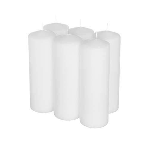 Royal Imports Pillar Candles White Unscented Premium Wax, 100 Hours Burning for Wedding, Spa, Party, Birthday, Holiday, Bath, Home Decor - 3'x9' Inch - Set of 6