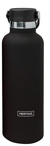 NERTHUS Botella Termo Tapon Asa Doble Pared para frios y Calientes Diseño Coral de Acero Inoxidable 750 ml Libre de BPA, 18/8, Negro