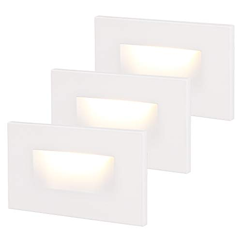 LEONLITE 120V Dimmable LED Step Light, 3.5W 3000K Warm White, 110lm High CRI 90, ETL Listed Indoor Outdoor Stair Light, Aluminum Waterproof Staircase Light, 5-Year Warranty, White, Pack of 3