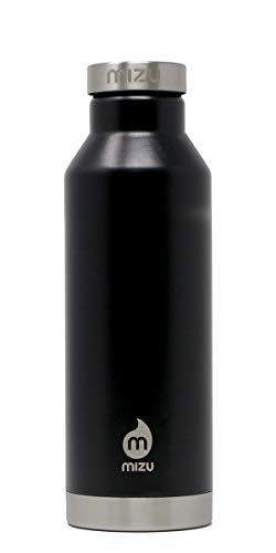 Mizu V6 Isolierte Trinkflasche aus Edelstahl, schwarz, 560 ml