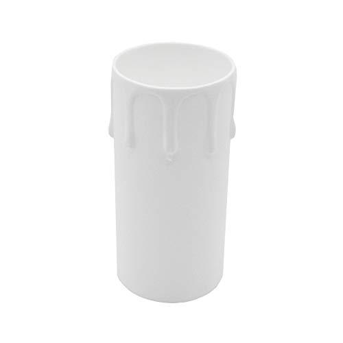 3 St. E27 Kerzenhülse Weiß 85mm mit Tropfen ø 40mm für Fassung Kronleuchter Lüster Kerzenhülle Fassungshülse Vintage