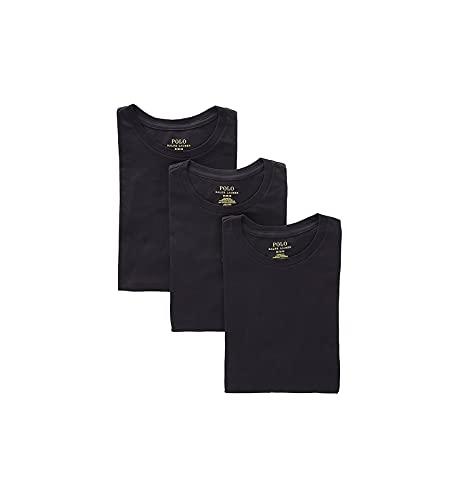 Polo Ralph Lauren - Paquete de 3 camisetas interiores clásicas para hombre con cuello redondo, L, Azul marino/azul/blanco